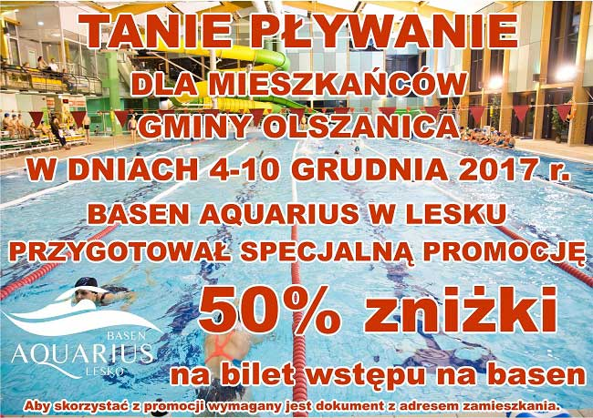 Tanie pływanie dla mieszkańców Gminy Olszanica na Basenie Aquarius w Lesku