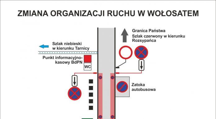 Uwaga ! Zmiana organizacji ruchu drogowego w Wołosatem