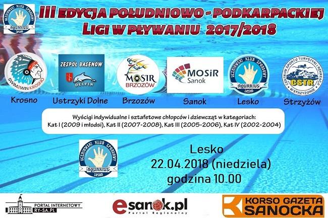 Zawody Południowo Podkarpackiej Ligi w Pływaniu w Lesku
