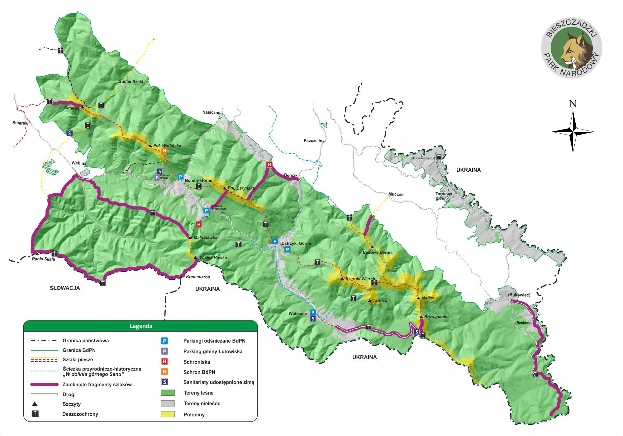 Mapa zamkniętych szlaków / BdPN
