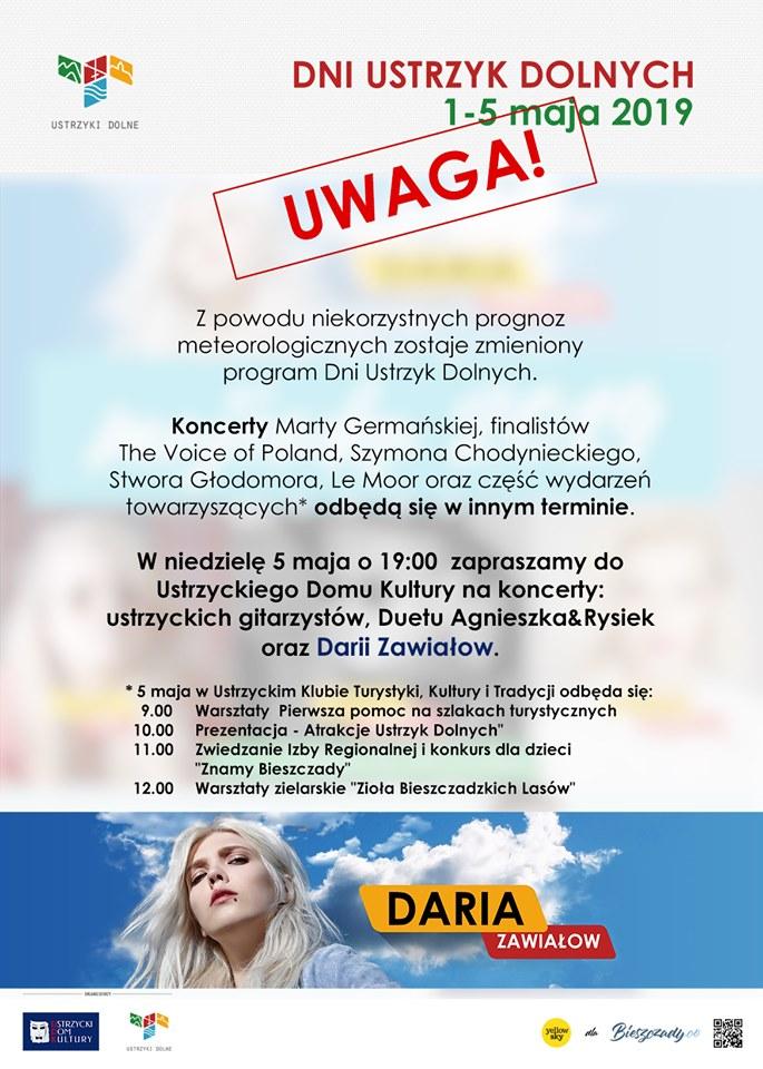UWAGA! Zmiany w programie Dni Ustrzyk Dolnych