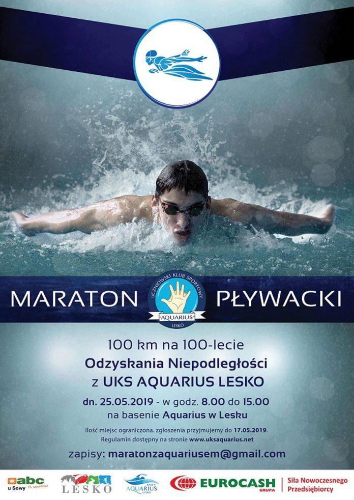Maraton Pływacki 100 km na 100 lecie odzyskania niepodległości w Lesku